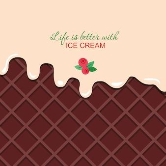 サンプルテキストテンプレートでチョコレートウェーハ背景に溶けたバニラクリーム