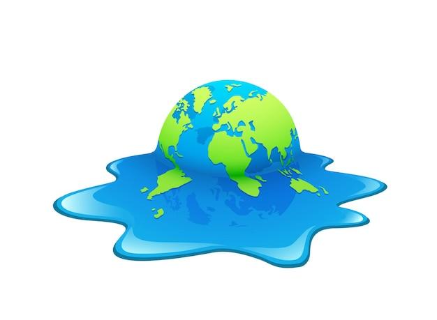 Тающая земля. концепция глобального потепления.