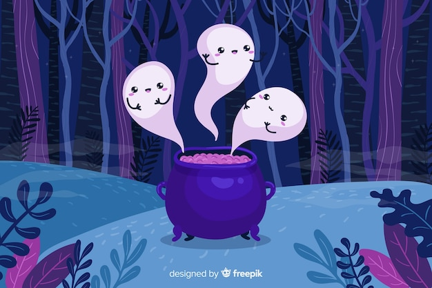 Melting ghosts in forest halloween background