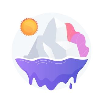 溶ける氷河の抽象的な概念図。極地の氷冠が溶け、山岳氷河が消え、海面が上昇し、地球温暖化、世界の気温が上昇