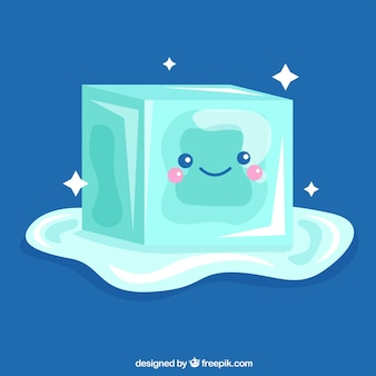 Melting ice cube character with flat design
