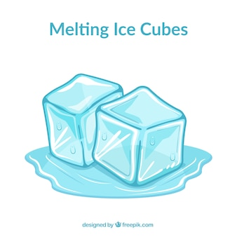 Melting ice cubes with flat design