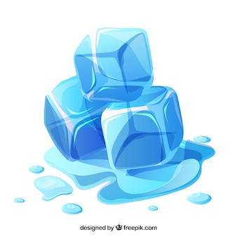 평면 디자인으로 녹는 얼음 조각