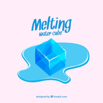 Melting ice cubes with hand drawn style