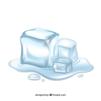 Melting ice cubes with realistic style