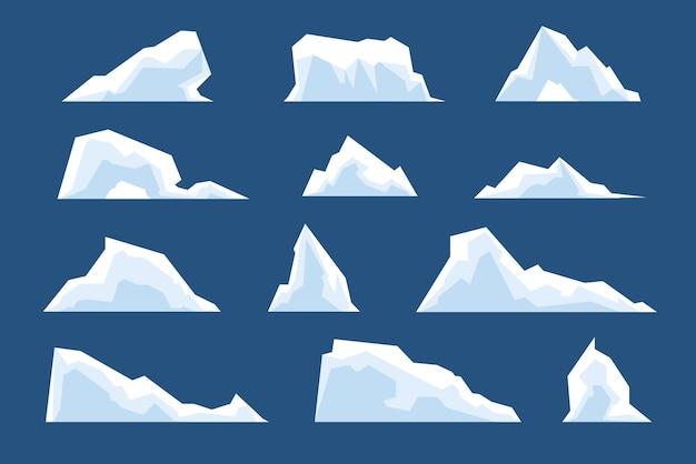 녹는 빙산. 눈 북극 산, 얼음 북극 차가운 자연 요소. 만화 겨울 풍경 빙하 바위 얼어붙은 산 벡터 집합입니다. 그림 녹는 빙산, 떠 있는 겨울 눈 빙하
