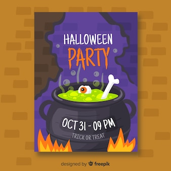 Melting pot halloween party poster template