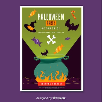 Melting pot halloween party poster