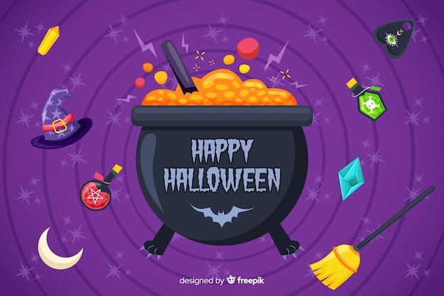 Melting pot with candies halloween background