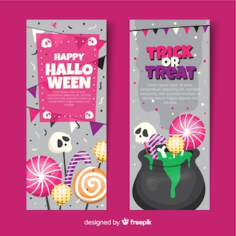 Melting pot with sweets flat halloween banners