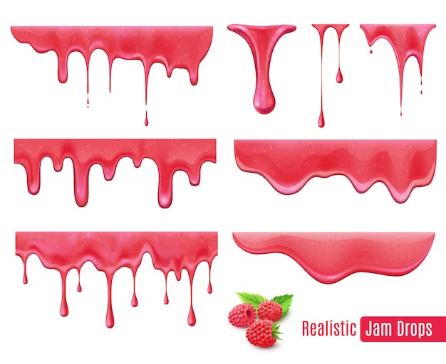 Melting raspberry jam drops realistic set