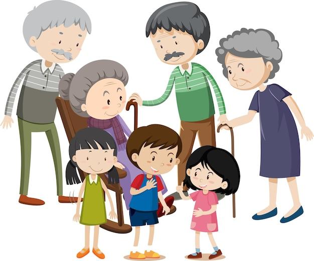 Membro del personaggio dei cartoni animati di famiglia su sfondo bianco