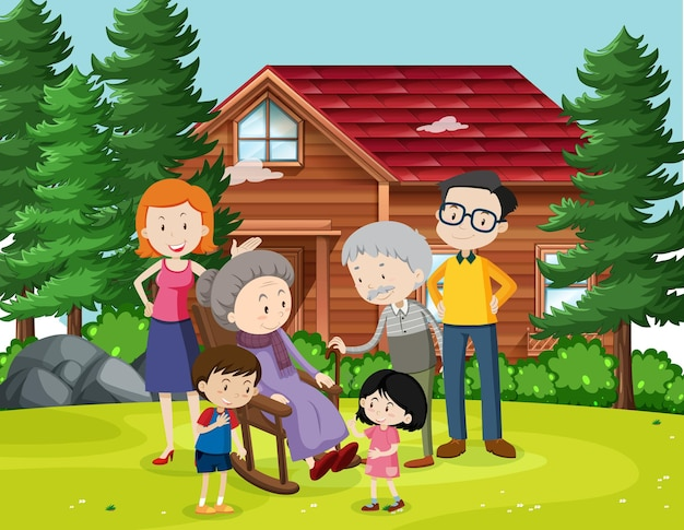 Member of family at home outdoor scene