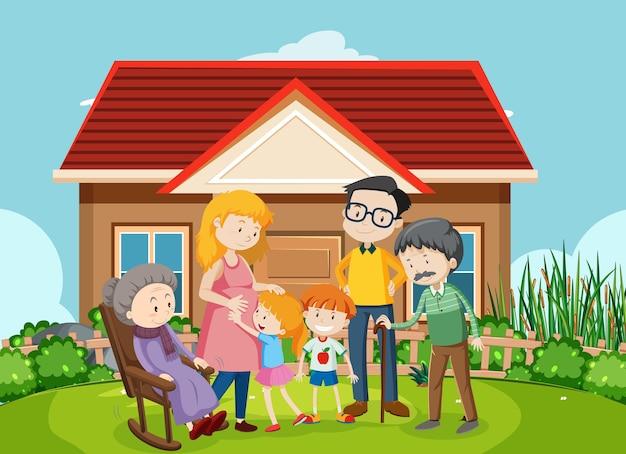 Membro della famiglia a casa scena all'aperto