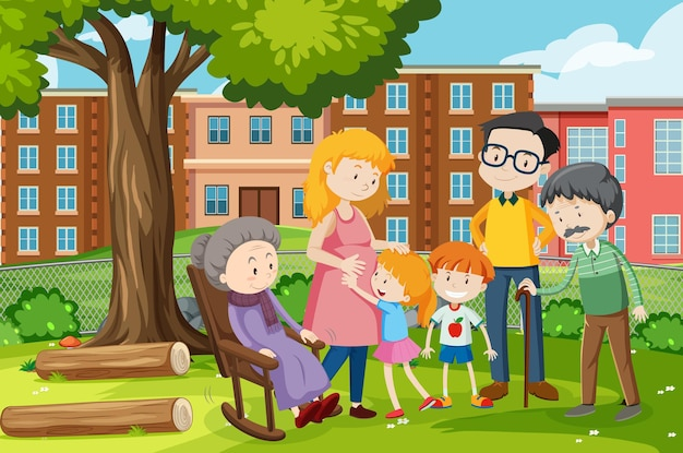 Member of family at the park outdoor scene