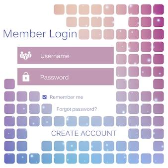 Member login form mobile web interface.