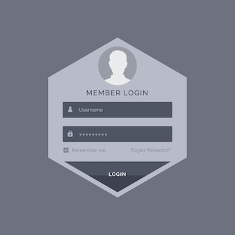 Member login form ui template design in hexagonal shape