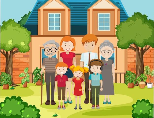 집 야외 현장에서 가족의 구성원