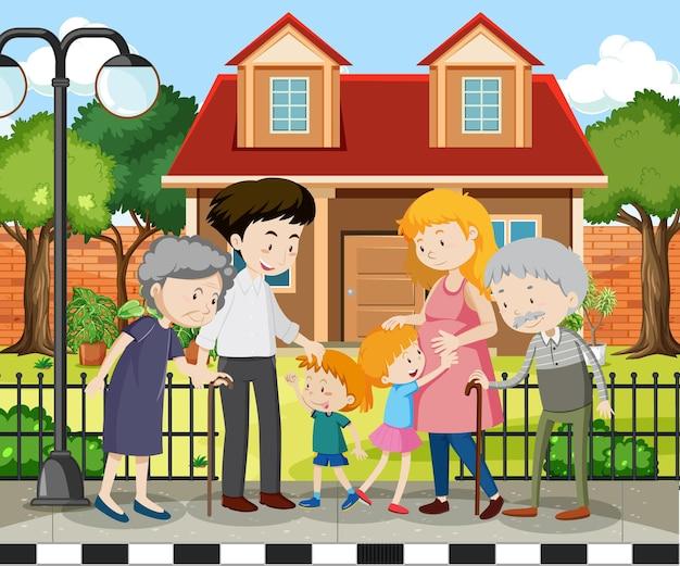Член семьи дома на открытом воздухе
