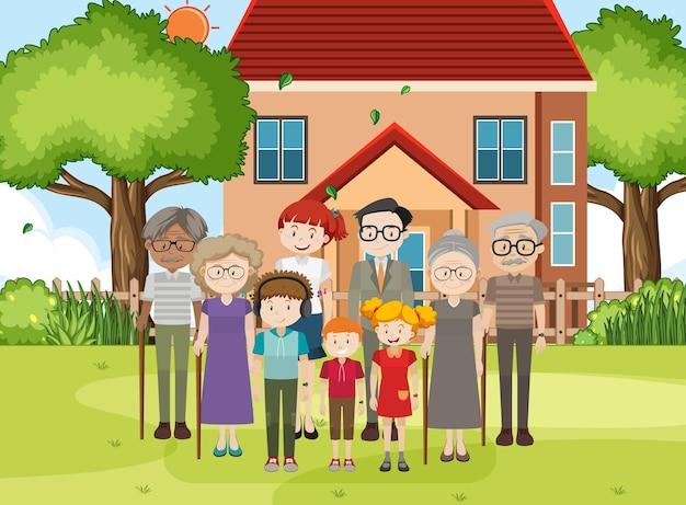 집 야외 장면에서 가족의 구성원