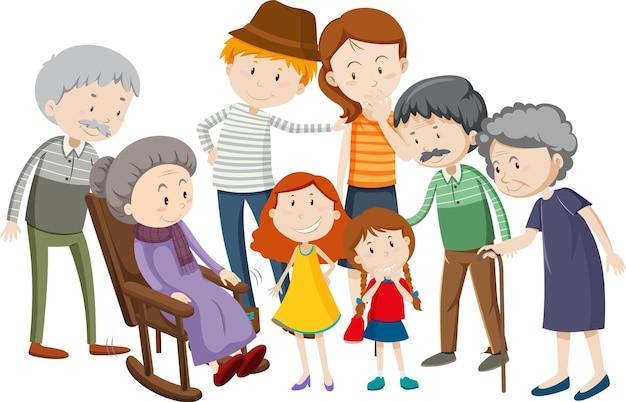 白い背景の上の家族の漫画のキャラクターのメンバー