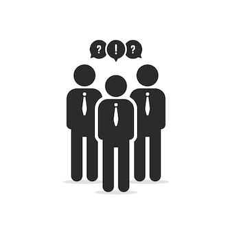 Пользователи-участники или бизнесмен. концепция социальной сети, викторина, толпа, разные работники, сотрудничество стартапов, обсуждение плоский стиль тенденции современного графического дизайна векторные иллюстрации на белом фоне