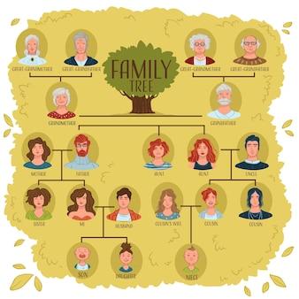 가족 구성원은 관계와 연결을 보여주기 위해 도식적으로 배열됩니다. 조상과 왕조. 족보와 세대 발견. 부모와 형제, 할머니와 아버지. 플랫에서 벡터