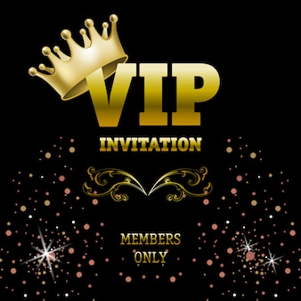 Members only vip invitation banner with crown