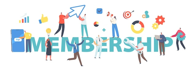 Membership concept. new user online registration and sign up. tiny characters signing up or login to account on huge smartphone screenposter, banner or flyer. cartoon people vector illustration