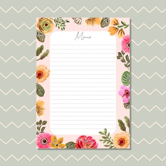 Memo card with beautiful floral painting frame