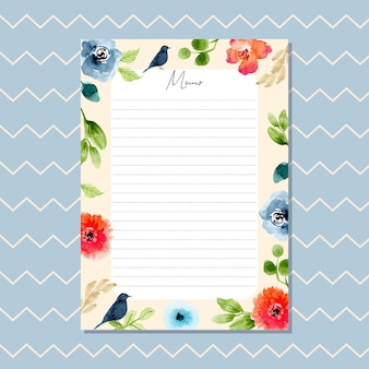 Memo card with beautiful watercolor floral border and chevron pattern