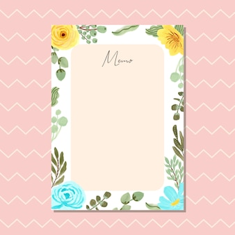 Memo card with yellow blue floral frame