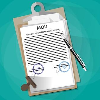 Memorandum of understanding legal document concept