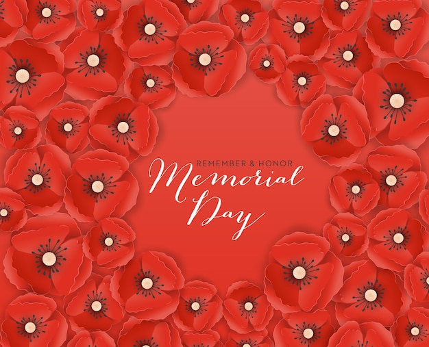 Memorial day banner with red paper cut poppy flowers. remembrance day poster with symbol of piece poppies for flyer, brochure, leaflet. vector illustration