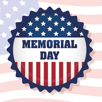 Memorial day celebration with usa flag circular frame
