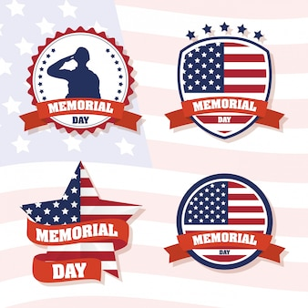 Memorial day celebration with usa flag set frames