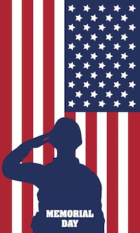 Memorial day celebration with usa flag and soldier silhouette