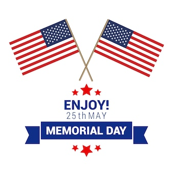 Memorial day design with two american flags