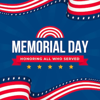 Memorial day flat design background with stars and stripes