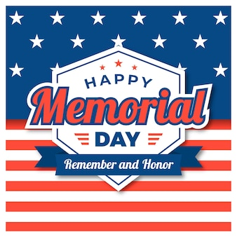 Memorial day flat design background with usa flag