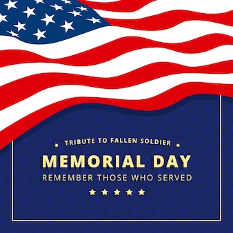 Memorial day flat design usa flag background