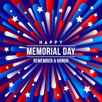 Memorial day greeting design with usa patriotic colors firework burst rays