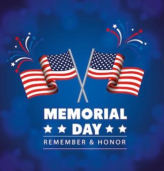 День поминовения, в честь всех, кто служил, с флагами сша, иллюстрация украшения