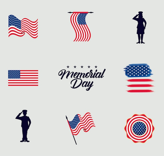 Memorial day lettering and icons