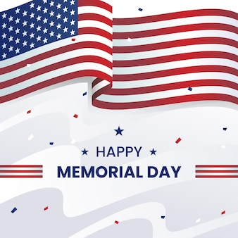 Memorial day realistic background with usa flag