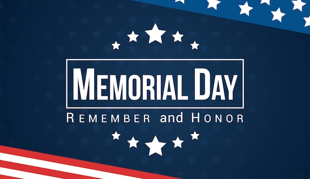 Memorial day - remember and honor vector card.