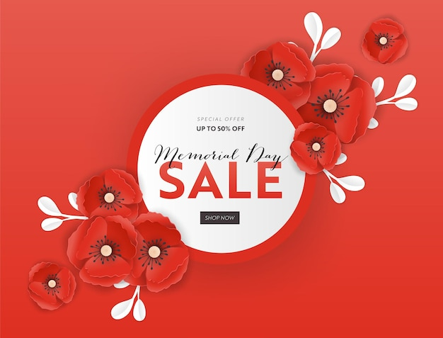 Memorial day sale banner with red paper cut poppy flowers. remembrance day discount poster with symbol of piece poppies for promo flyer, brochure, leaflet. vector illustration