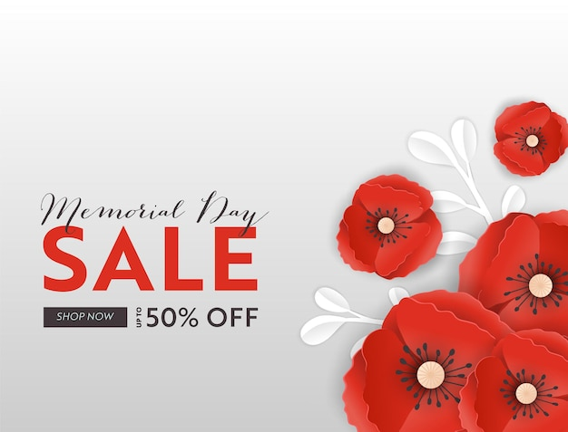 Memorial day sale banner with red paper cut poppy flowers. remembrance day discount poster with symbol of piece poppies for promo flyer, brochure, leaflet. vector illustration Premium Vector