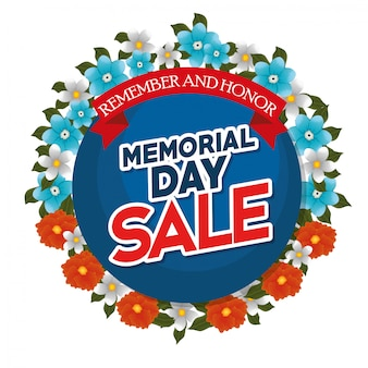 Memorial day sale with beautiful flowers