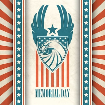 Memorial day. typographic card with the american flag and eagle.